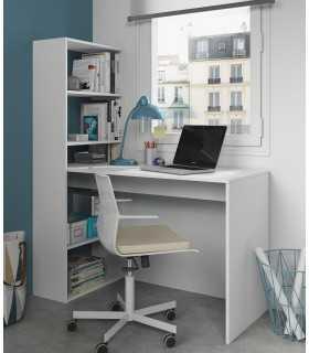 Escritorio Oficina, Mesa Ordenador Despecho Estudio Estantería Reversible Blanco