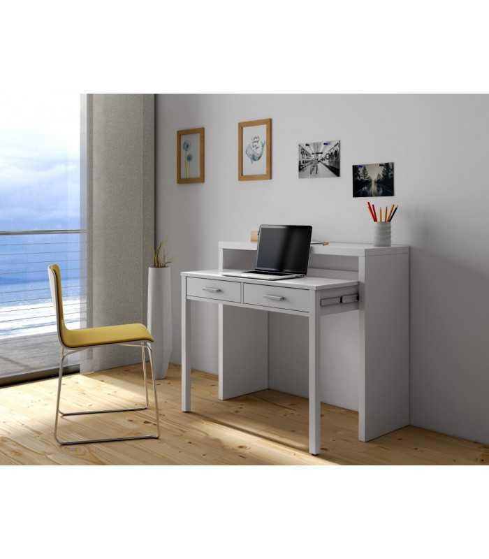 Mesa escritorio extensible tyrion blanco brillo - Mesa escritorio extensible ...