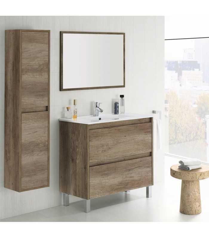 Mueble de Baño 2 cajones + Lavabo + Espejo Moderno Elegant Acabado ...
