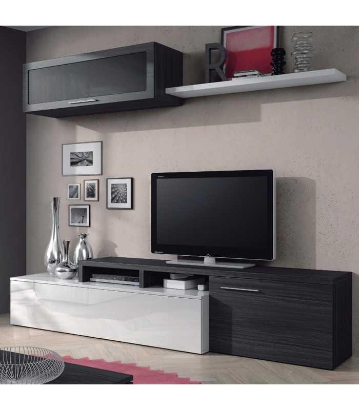 Mueble Salón Comedor Tv + Módulo Alto Vitrina + Estante Gris Ceniza...
