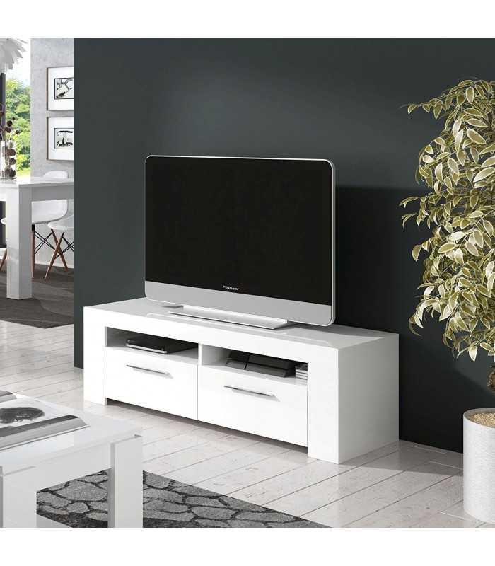 Mueble mesa televisor tv comedor 2 puertas modulo sal n for Mueble salon blanco brillo