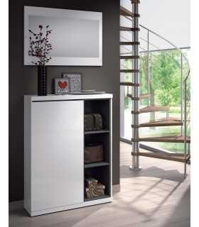 Mueble Recibidor Zapatero Para Entrada 1 Puerta + Espejo, Blanco Brillo
