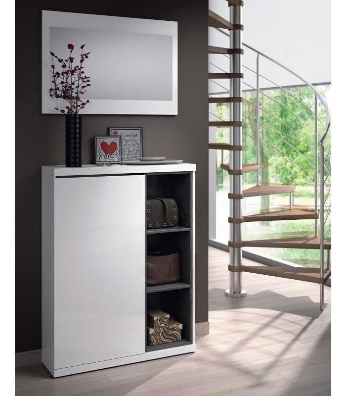 Mueble recibidor zapatero para entrada 1 puerta espejo for Espejos grandes para recibidor
