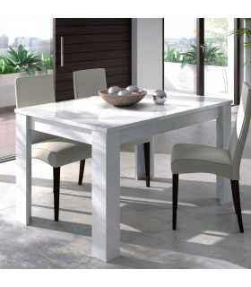 Mesa de Comedor Extensible Rectangular Blanco Brillo