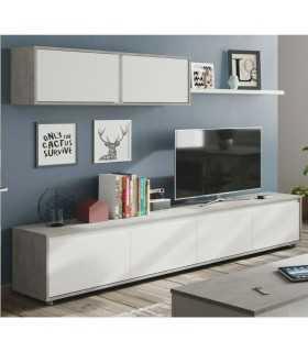 Mueble de salón tv Home cemento y blanco artik