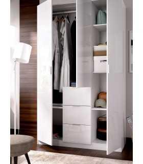 Armario Essen 135 3 cajones 3 puertas blanco brillo