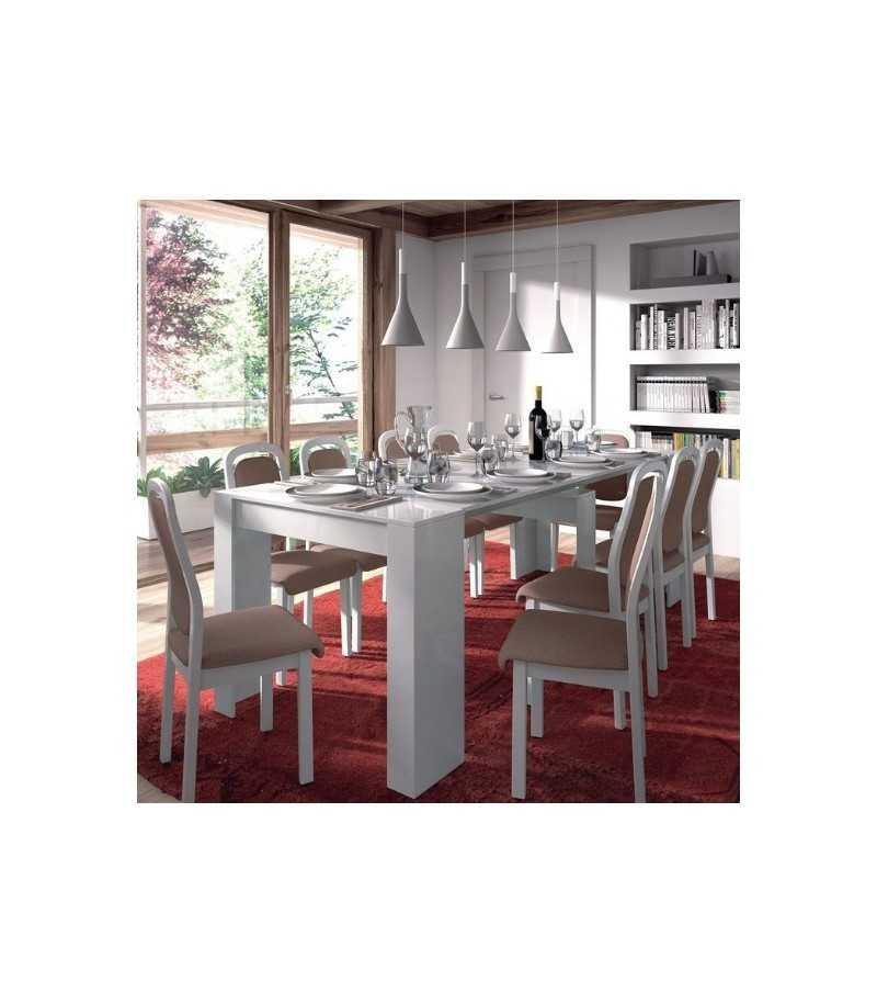 Mesa Comedor Extensible 5 Posiciones. Blanco Brillo